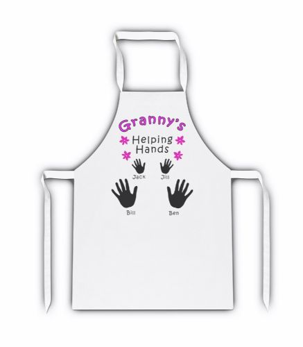 Personalised Granny's/Mummy's/Mammy's Helping Hands White Apron
